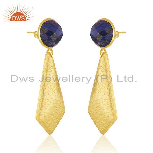 Exporter Lapis Gemstone New Arrival Gold Plated Brass Fashion Earrings Jewelry Supplier