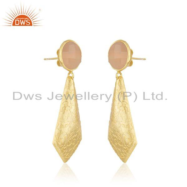 Exporter Designer Gold Plated Brass Rose Chalcedony Gemstone Fashion Earrings Jewelry
