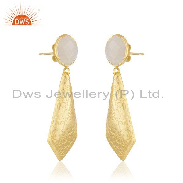 Exporter Rainbow Moonstone Texture Brass Designer Fashion Earrings Jewelry