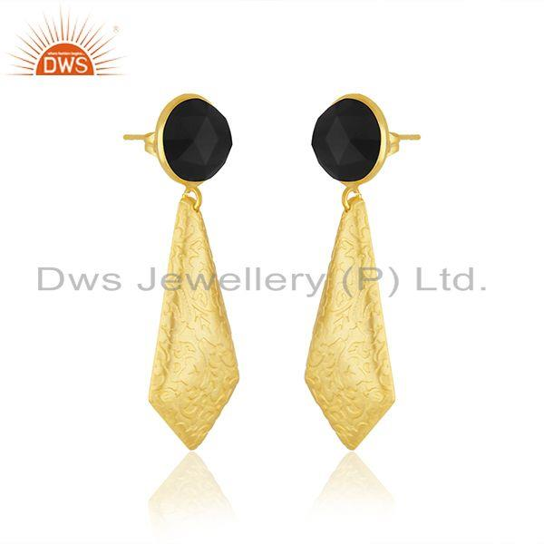 Exporter Black Onyx Gemstone Designer Gold Plated Brass Fashion Earrings Jewelry