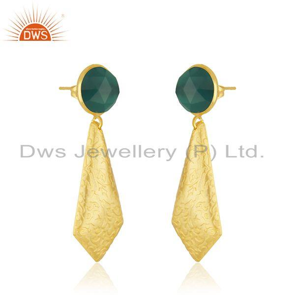 Exporter Texture Yellow Gold Plated Brass Green Onyx Gemstone Earrings Jewelry