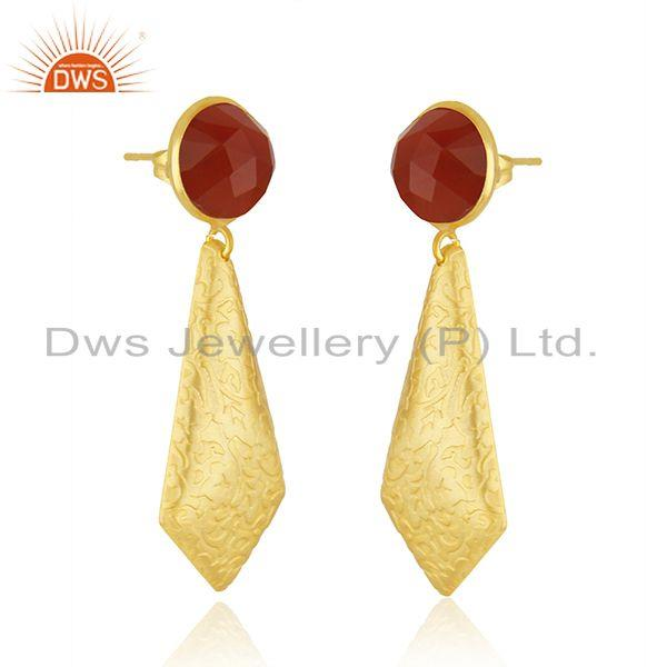 Exporter Red Onyx Gemstone 18k Gold Plated Brass Fashion Earrings Jewelry