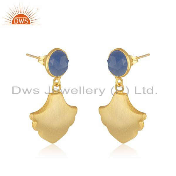 Exporter Wholesale Designer Gold Plated Brass Blue Chalcedony Fashion Earrings Jewelry