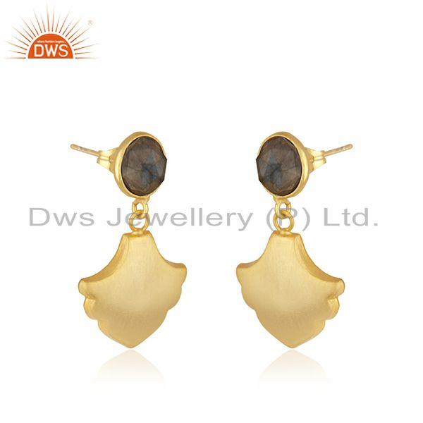 Exporter Labradorite Gemstone Designer Yellow Gold Plated Fashion Earrings Jewelry