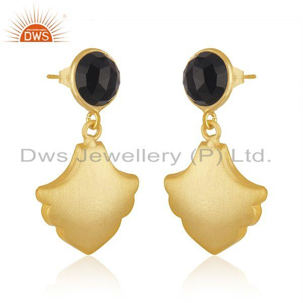 Exporter Wholesale BLack Onyx Gemstone Gold Plated Brass Fashion Earrings Jewelry