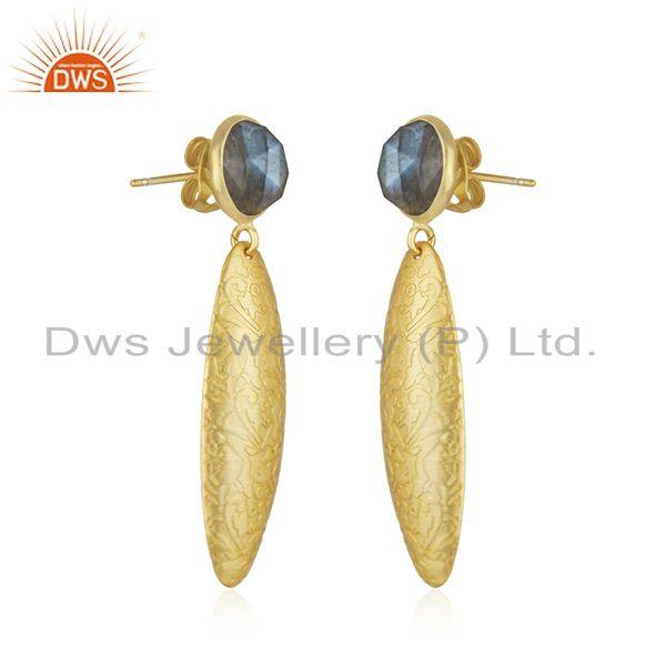 Exporter 14k Gold Plated Textured Brass Labradorite Gemstone Fashion Earrings Jewelry