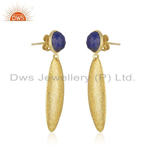 Exporter Wholesale Lapis Gemstone Handmade Gold Plated Brass Fashion Earrings Jewelry