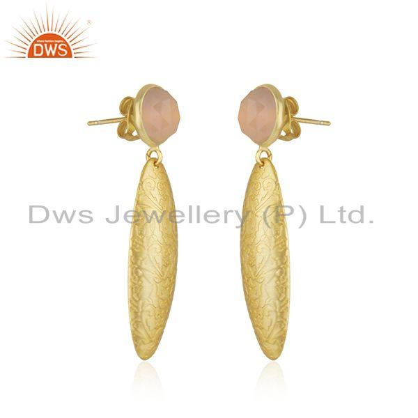 Exporter Handmade Texture Gold Plated Brass Rose Chalcedony Gemstone Earrings Jewelry