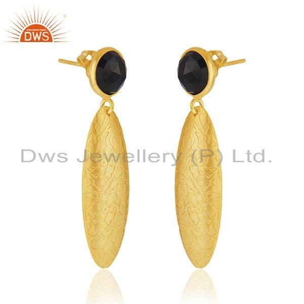 Exporter Indian Black Onyx Gemstone Textured Gold Plated Brass Handmade Fashion Earrings