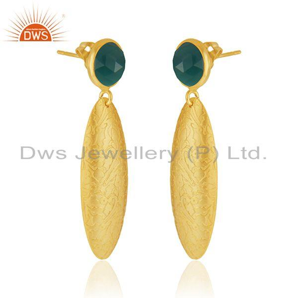 Exporter Handmade Texture Gold Plated Brass Green Onyx Gemstone Fashion Earrings Jewelry