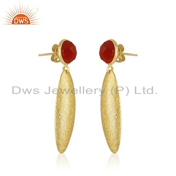 Exporter Indian Gold Plated Brass Textured Red Onyx Gemstone Fashion Earrings Jewelry
