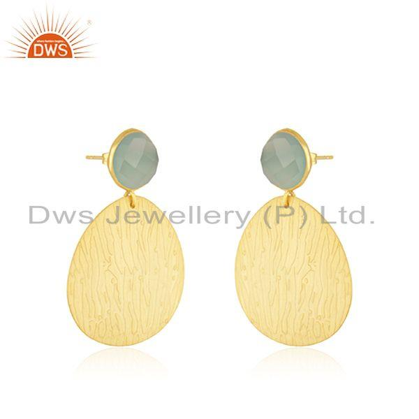 Exporter Handmade Gold Plated Brass Fashion Gemstone Dangle Earrings Wholesale Supplier