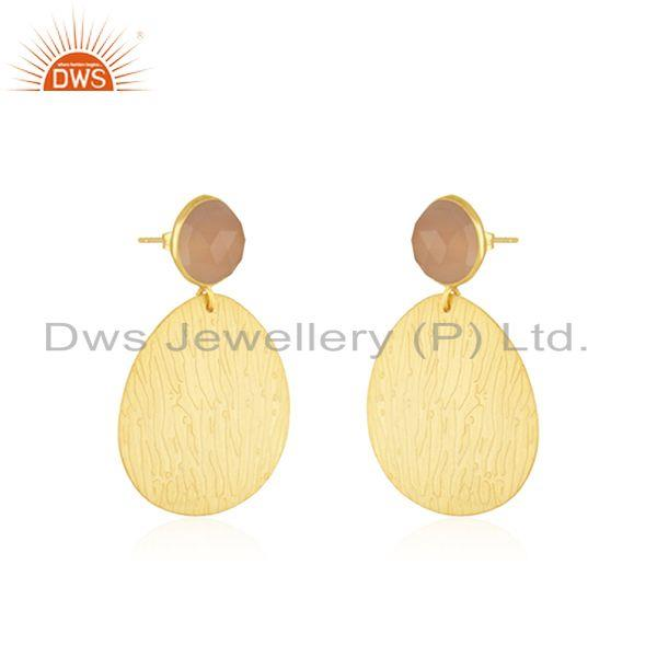 Exporter Indian Handmade Brass Yellow Gold Plated Fashion Gemstone Earrings for Girls