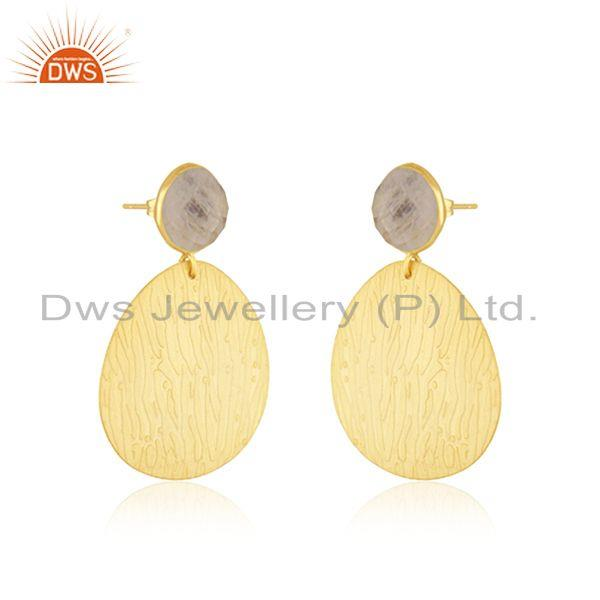 Exporter Rainbow Moonstone Gold Plated Brass Fashion Handmade Earrings Jewelry
