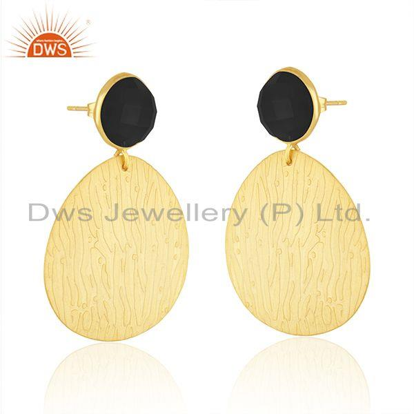 Exporter Black Onyx Gemstone Texture Gold Plated Handmade Fashion Earrings Jewelry