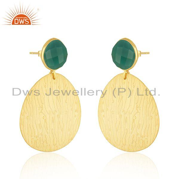 Exporter Green Onyx Gemstone Handmade Gold Plated Texture Fashion Earrings Jewelry