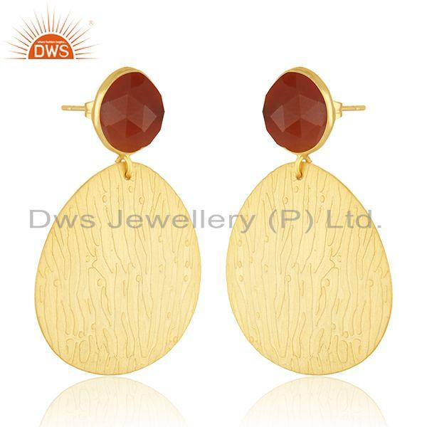 Exporter Texture Gold Plated Brass Designer Red Onyx Gemstone Fashion Earrings Jewelry