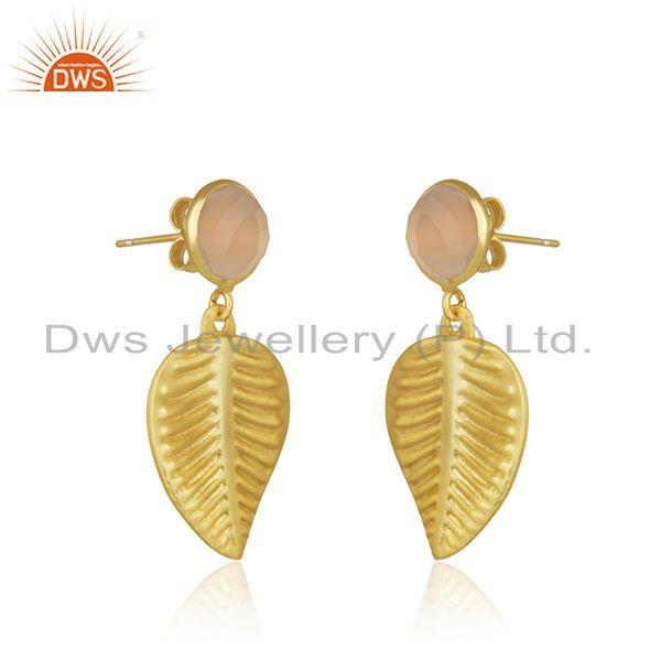 Exporter Rose Chalcedony Gemstone Designer Gold Plated Fahsion Earrings Jewelry