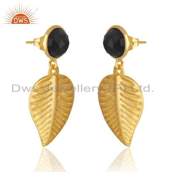 Exporter Leaf Shape Gold Plated Brass Fashion Black Onyx Earrings Jewelry Supplier