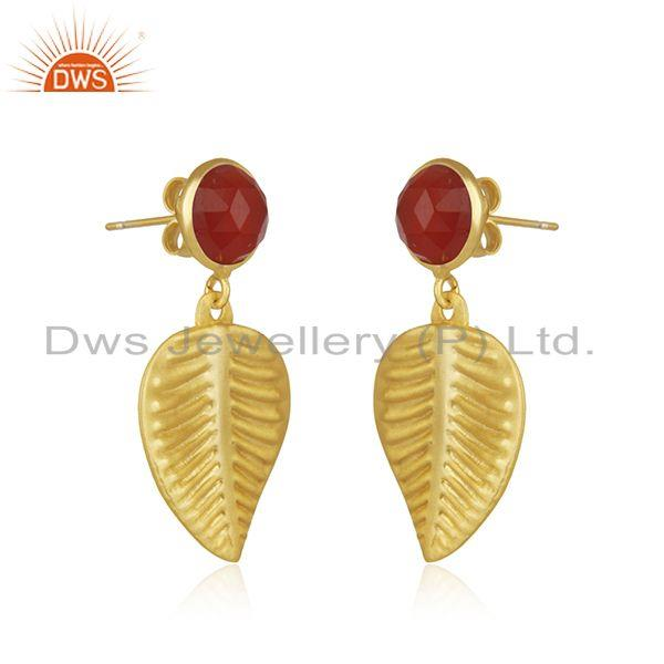 Exporter Wholesale Gold Plated Designer Brass Red Onyx Gemstone Earrings Jewelry