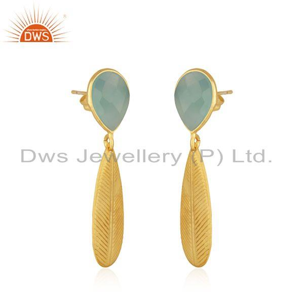 Exporter Texture Designer Gold Plated Aqua Chalcedony Brass Fashion Earrings