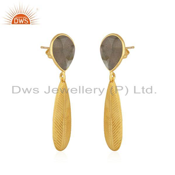 Exporter Labradorite Gemstone Texture Yellow Gold Plated Fashion Brass Earrings Jewelry