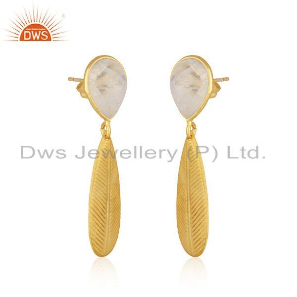 Exporter Wholesale Rainbow Moonstone Gold Plated Fashion Brass Earrings Jewelry