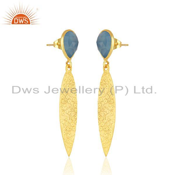 Exporter Texture Designer Gold Plated Brass Blue Chalcedony Gemstone Earrings Jewelry