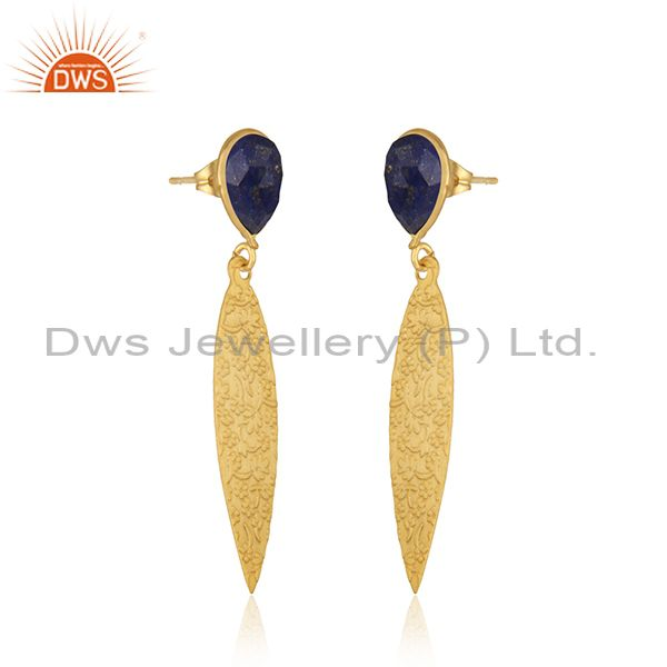 Exporter Wholesale Lapis Gemstone Brass Fashion Designer Earrings Jewelry Supplier