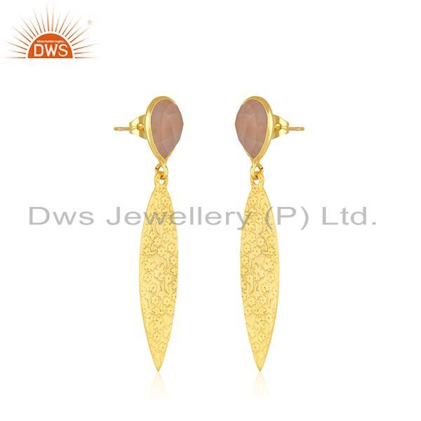 Exporter Manufacturer Texture Brass Fashion Rose Chalcedony Gemstone Earrings Jewelry