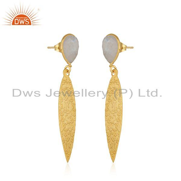 Exporter Rainbow Moonstone Gemstone Textured Gold Plated Brass Fashion Earrings Jewelry