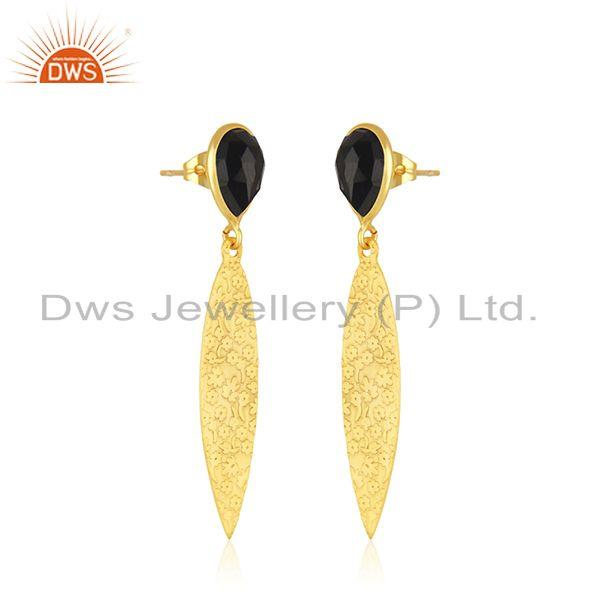 Exporter Designer Textured Brass Fashion Black Onyx Gemstone Earrings Jewelry