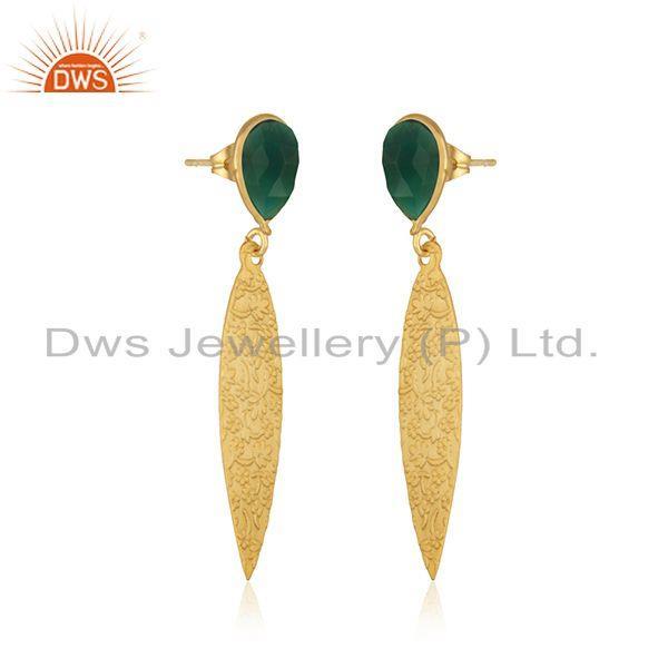 Exporter Green Onyx Gemstone Designer Brass Fashion Earrings Jewelry Manufacturer
