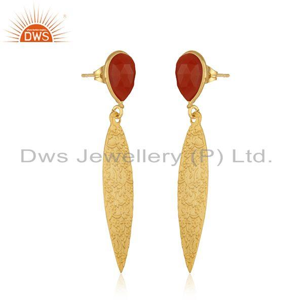 Exporter Red Onyx Gemstone Designer Texture Brass Earrings Fashion Jewelry