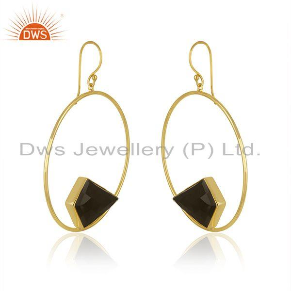 Exporter Black Onyx Gemstone Circal Gold Plated Brass Fashion Earrings Jewelry
