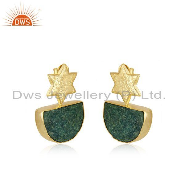 Exporter Handcrafted Floral Design Druzy Green Gemstone Earrings Wholesaler India