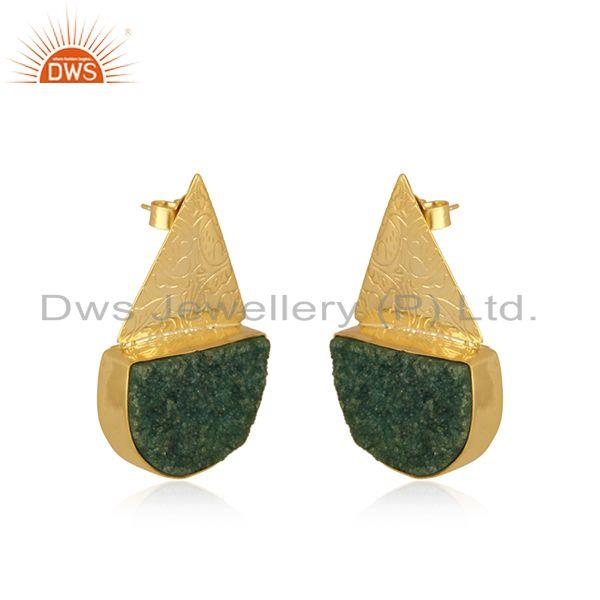 Exporter Indian Handcrafted Brass Fashion Gold Plated Green Gemstone Stud Earrings