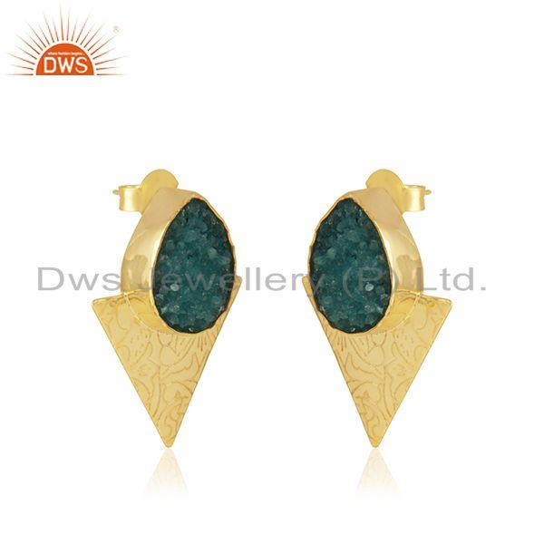 Exporter Triangle Design Gold Plated Brass Fashion Green Gemstone Stud Earrings Suppliers