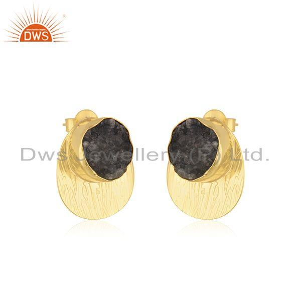 Exporter Gray Druzy Handcrafted Yellow Gold Plated Brass Fashion Stud Earrings Suppliers
