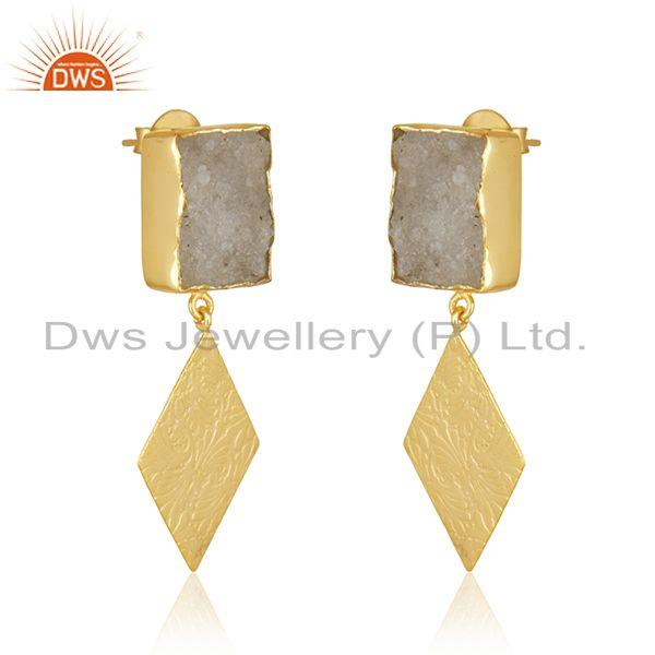 Exporter White Druzy Gold Plated Handcrafted Brass Fashion Earrings Wholesale