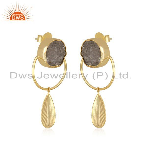 Exporter 14k Yellow GOld Plated Brass Fashion Druzy Gemstone Dangle Earrings Manufacturer