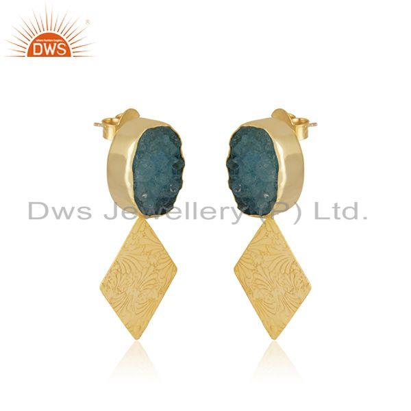 Exporter Druzy Sky Blue Gemstone Gold Plated Brass Fashion Earrings Manufacturer India