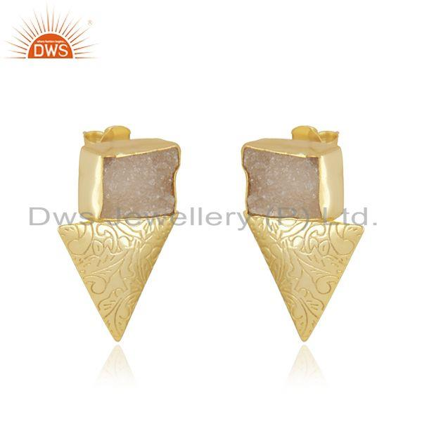 Exporter White Druzy Yellow Gold Plated Brass Fashion Stud Earrings Manufacturer INdia