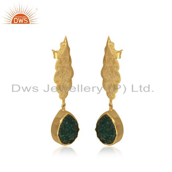 Exporter Green Druzy Gemstone Floral Design Brass Gold Plated Dangle Earrings manufacture