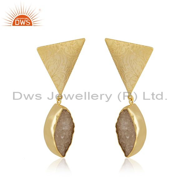 Exporter White Druzy Yellow Gold Plated Brass Fashio Floral Design Earring Manufacturer