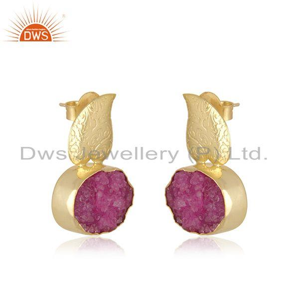 Exporter Druzy Pink Gemstone Gold Plated Brass Fashion Floral Earrings Manufacturer India