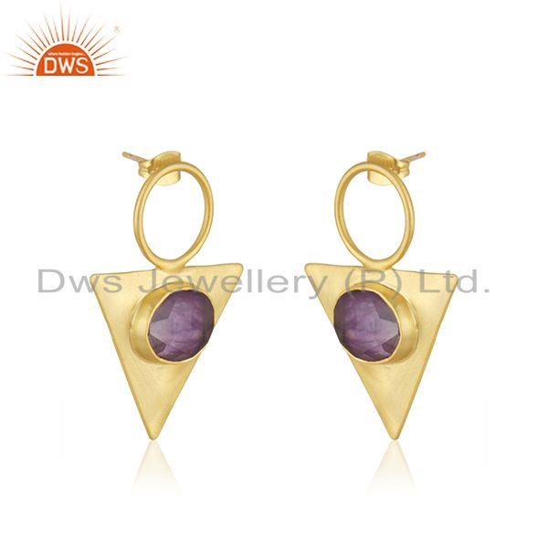 Exporter Yellow GOld Plated Brass Fashion Triangle Earrings Manufacturer from india