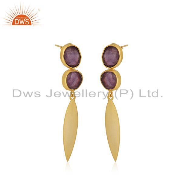 Exporter Amethyst Gemstone Yellow Gold Plated Brass Fashion Earrings Manufacturer INdia