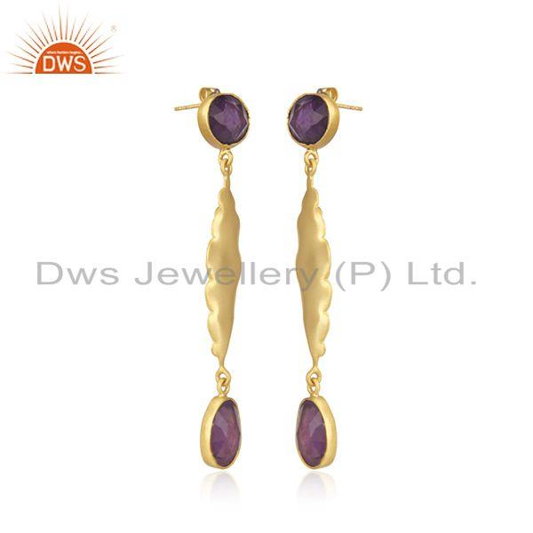Exporter Amethyst Gemstone Yellow Gold Plated Brass Fashion Earrings Wholesaler