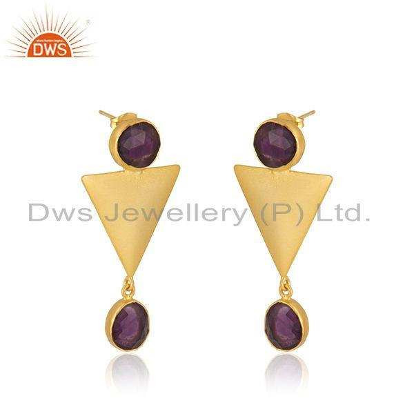 Exporter Triangle Design Gold Plated Brass Fashion Amethyst Gemstone Earrings Manufacture